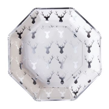 Silver Stags Head Christmas Paper Party Plates